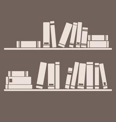 Books on the shelf interior design vintage vector image