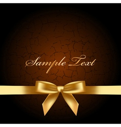brown background with gold bow vector image vector image