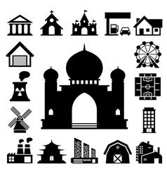 buildings icon set vector image