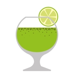 silhouette colorful with drink in glass and lemon vector image vector image