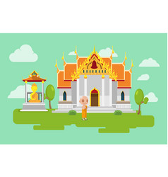 thai temple lifestyle culture background vector image vector image