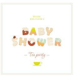 boy baby shower tea party invitation design sweet vector image