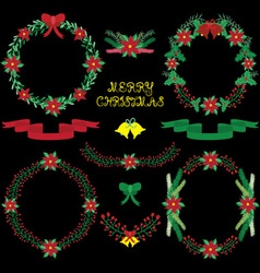 Chalkbard Christmas Floral collections vector image vector image