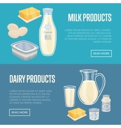 Dairy products horizontal banners set vector