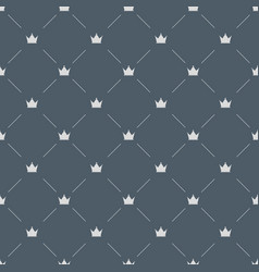 luxury seamless pattern with white crowns on gray vector image vector image