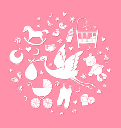 set of hand drawn elements baby girl stuff vector image