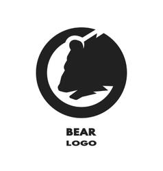 Silhouette of the bear monochrome logo vector
