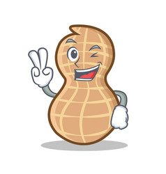 Two finger peanut character cartoon style vector