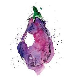 Watercolor of eggplant vector image