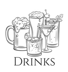Alcoholic drinks icon retro vector