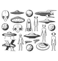 Aliens extraterrestrial spaceship and planet icon vector