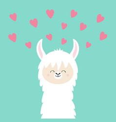 Alpaca llama face neck pink hearts happy vector