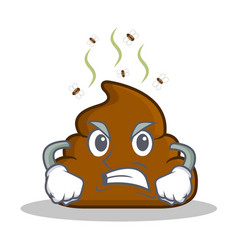 Angry poop emoticon character cartoon vector