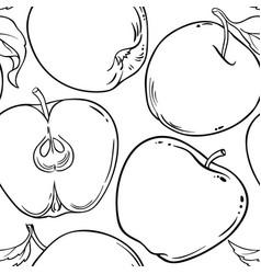 Apple fruit pattern on white background vector