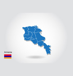 Armenia map design with 3d style blue map vector