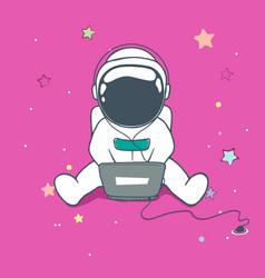 Astronaut uses a computer vector