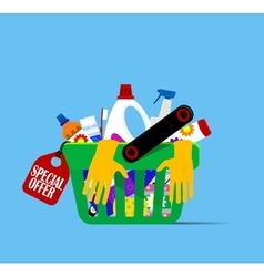Basket with hygiene items vector