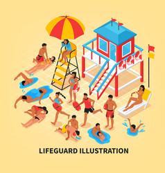 Beach lifeguard isometric vector