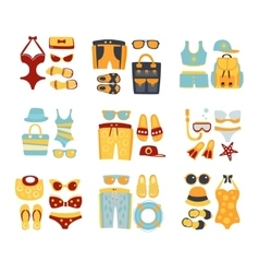 Beach Outfit Sets Of Clothing And Accessories vector image