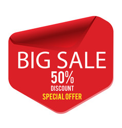 big sale 50 discount special offer red banner vec vector image