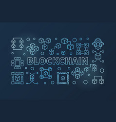 blockchain cryptocurrency outline blue horizontal vector image