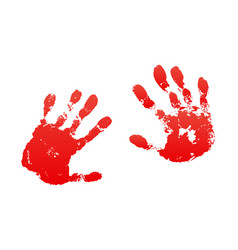 Bloody hand print isolated white background vector