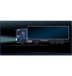 Blue truck on the night road vector