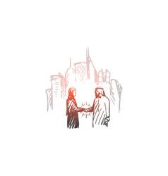 businessman agreement deal muslim city concept vector image