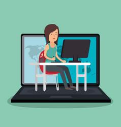 Businesswoman working avatar character vector