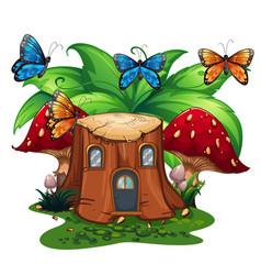 Butterflies flying around log home vector