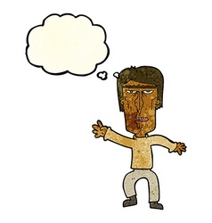 Cartoon angry man waving warning with thought vector