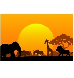 Cartoon collection animal in the africa vector