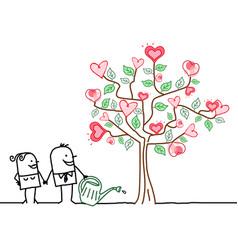 cartoon woman and man watering a big tree vector image