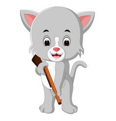 cat holding gun vector image