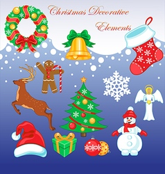 Christmas symbols set vector image