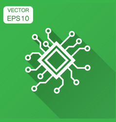 Circuit board icon in flat style technology vector