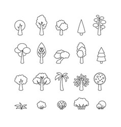 collection of tree icons template for logo vector image