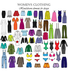 color set of hand-drawn womens clothing vector image