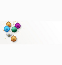 colorful christmas balls isolated on white vector image
