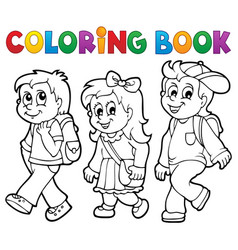 Coloring book school kids theme 2 vector
