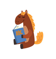 Cute horse animal cartoon character reading a book vector