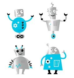 Cute retro robots vector