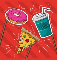 desserts cartoons cut lines vector image