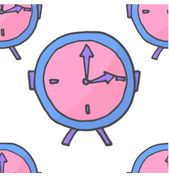 Doodle pink and violet clock seamless pattern vector