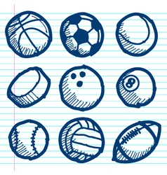 Doodle Sport Ball Icons vector image