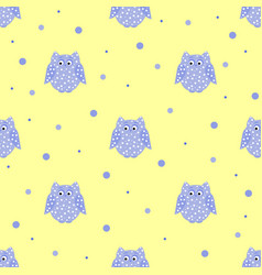Dotted purple owls with yellow backdrop vector