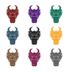 Dragon icon in black style isolated on white vector