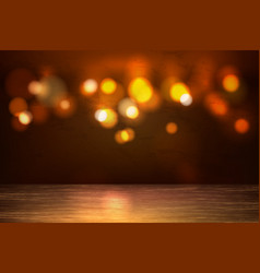 empty wooden table bokeh lights backdrop vector image