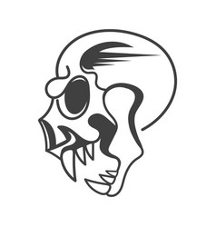 evil skull side view on background vector image