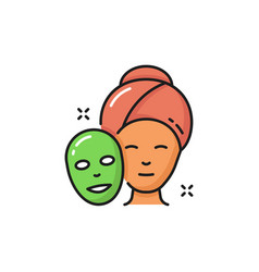 Facial sheet mask on woman face isolated icon vector